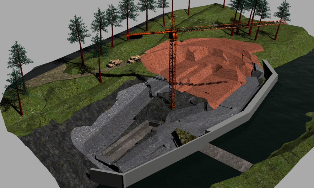 This rendering shows the initial excavation phase of the project.