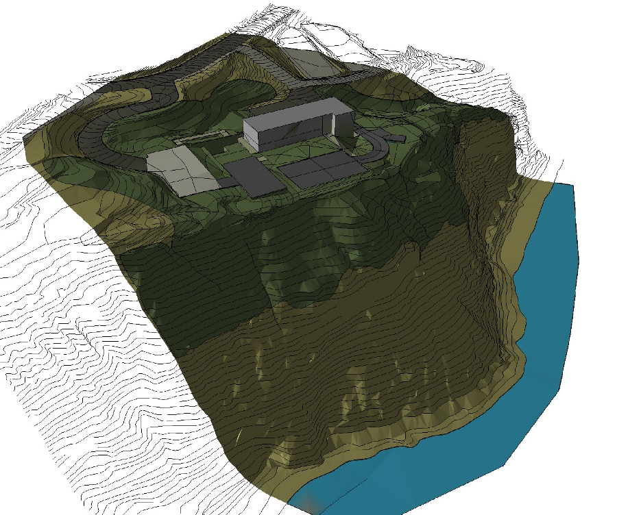 Our 3D earthwork model flat shaded for graphic purposes